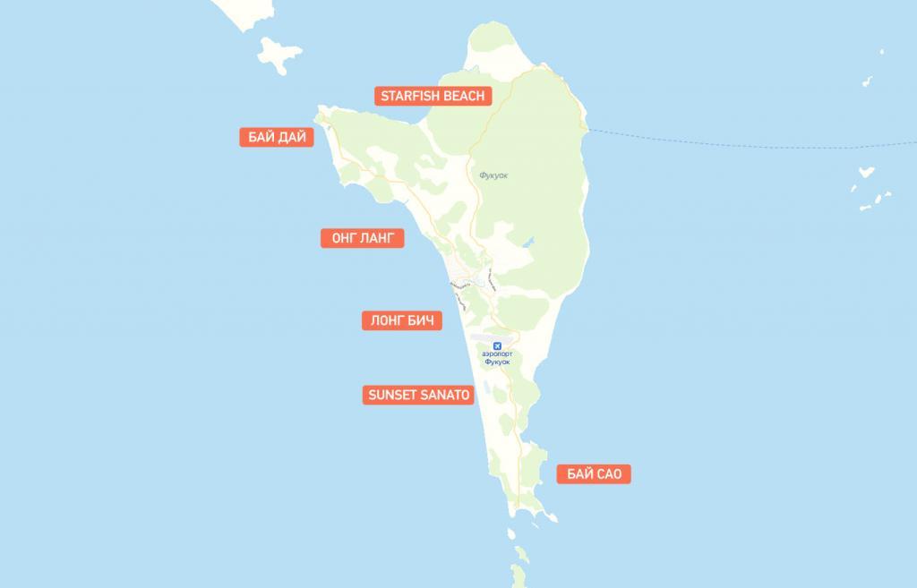 Карта пляжей Фукуок