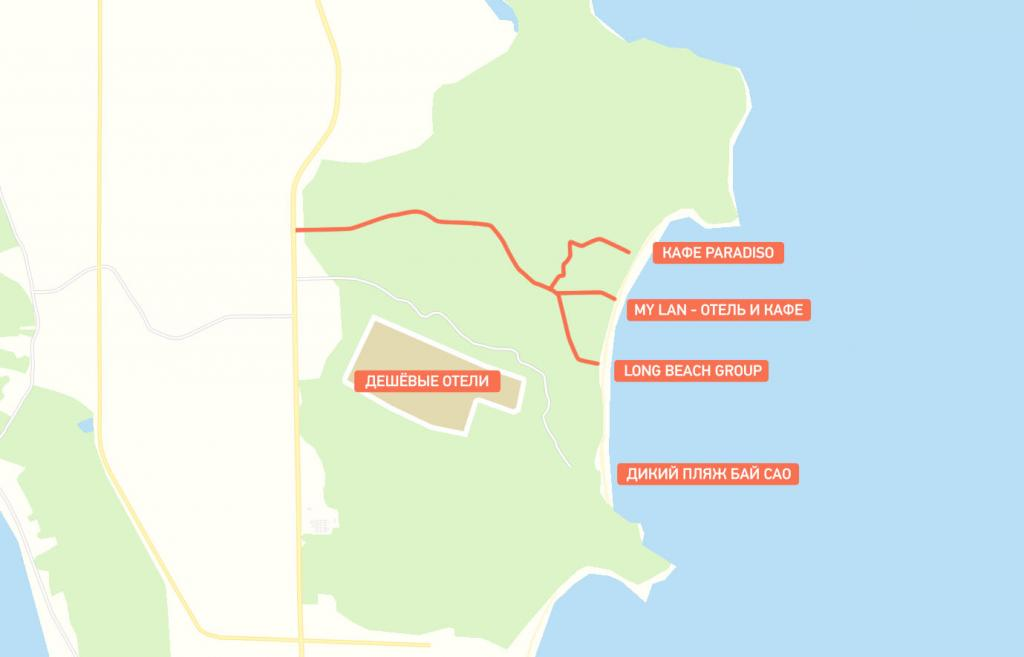 карта пляжа Бай Сао